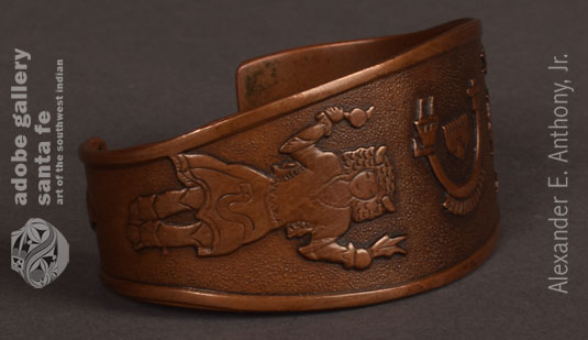 Alternate Side view of this bracelet showing the Buffalo Dancer.