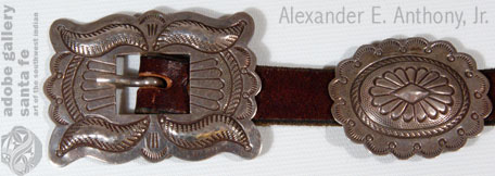 Close up view of the buckle and one of the conchas.