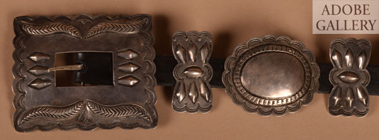 Close up view of the buckle and conchas.