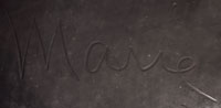 """Maria Martinez used a variety of signatures during her long career.  The first signature on black pottery was Marie—a signature used when she made the item and Julian painted the design.  His name was omitted in the early years because pottery was considered """"woman's work.""""  It was only after they were convinced that his painting did not constitute doing """"woman's work,"""" but was the work of an artist, that his name was confidently added alongside Maria's.  The Marie signature was used between 1923 and 1925. Spivey 2003"""