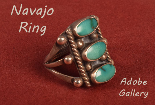 Alternate view of this Navajo-made ring showing the side.