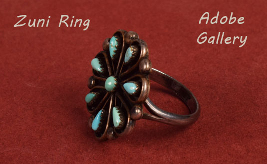 Alternate side view of this Zuni-made ring.