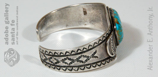 Alternate side view of this bracelet showing the intricate stampwork.