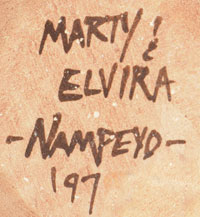 Artists Signatures - Marty Naha (1970-) and Elvira Polacca Nampeyo (1968*)