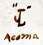 """The wedding vase dates to the 1970s.  It is signed with the initials """"JL"""" and Acoma - Artist Juana Leno"""
