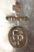 Frank Patania Sr. (1899-1964) hallmark signature include conjoined FP STERLING and his Thunderbird shop eagle logo.