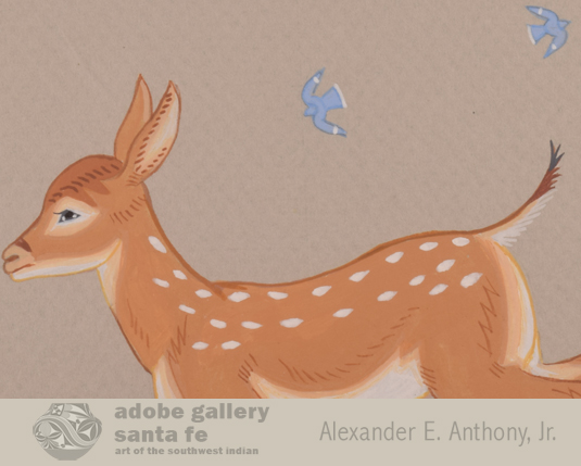 Close up view of the Fawn and birds in this watercolor.