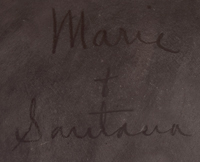 "Pottery made during this 1943 to 1956 period was signed ""Marie & Santana."""