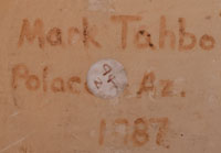 "The jar is signed ""Mark Tahbo, Polacca Az. 1987""."