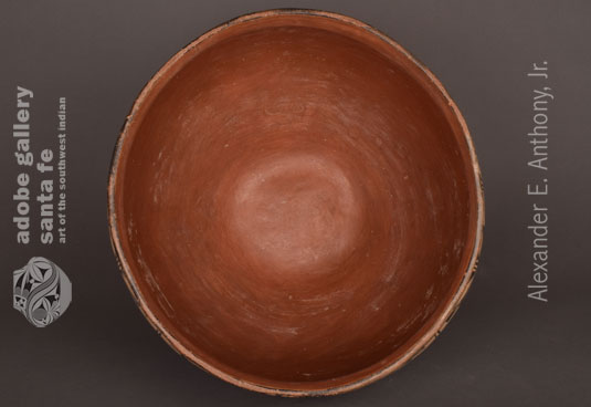 Alternate inside view of this amazing historic dough bowl from Cochiti Pueblo.