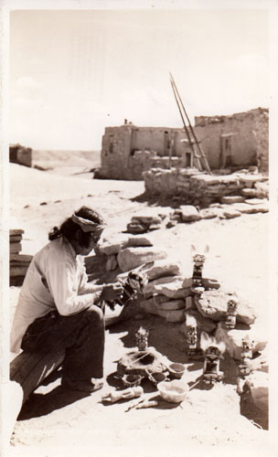 Katsina Doll making at Hopi Pueblo, Arizona. Image Source: from postcard Published by Frashers, Inc., Pomona, Calif.