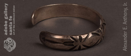 Alternate view of this Navajo silver bracelet.