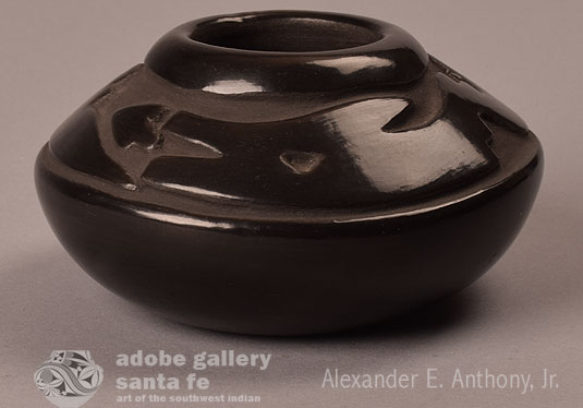 Alternate side view of this amazing blackware jar.