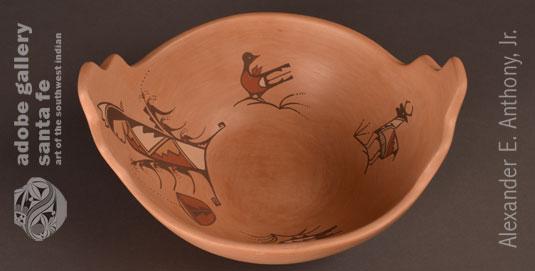 Alternate view of this Jemez Pueblo Terrace rim pottery bowl.