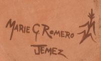 The bowl is signed Marie G. Romero Jemez.  Artist Signature - Marie Gachupin Romero, Jemez Pueblo Potter