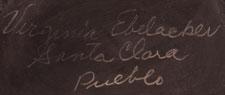 Artist Signature - Virginia Ebelacker, Santa Clara Pueblo Potter