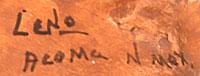 Artist Signature - Juana Leno, Syo-ee-mee Turquoise, Acoma Pueblo Potter