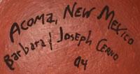 Artists' Signatures - Barbara and Joe Cerno, Sr., Acoma Pueblo Potters
