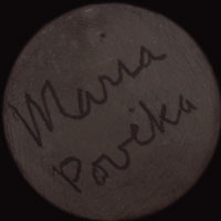 Artist Signature - Maria Montoya Poveka Martinez, San Ildefonso Pueblo Potter. The signature Maria Poveka on undecorated blackware, according to Richard Spivey, was a signature started in 1956 and abandoned in the mid-1960s, so it lasted only a decade.