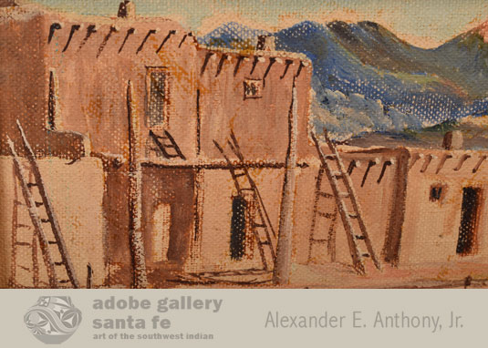 Close up view of this painting of Taos Pueblo.