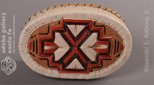 Alternate view of the top of this basketry box.