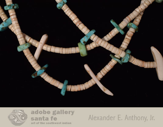Close up view of the strands of shell and turquoise.