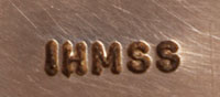 """The bracelet is stamped """"IHMSS"""" which stands for Indian Handmade Sterling Silver."""