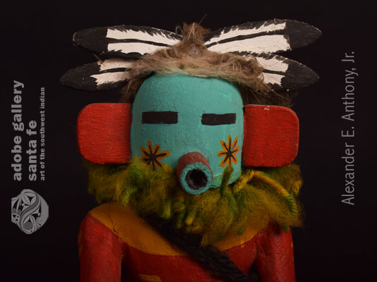 Close up view of the face of this Kachina Doll.