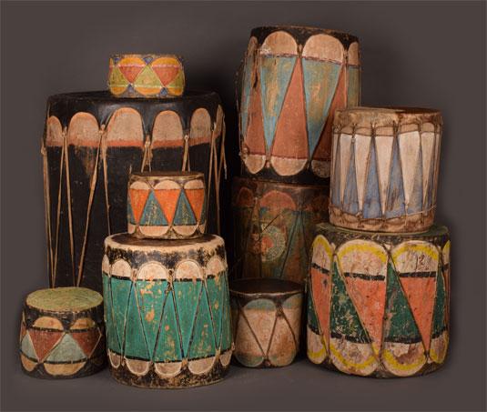 Group of Pueblo Drums