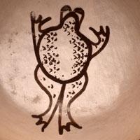 Artist Hallmark Frog signature - Joy Navasie Second Frog Woman - Yellow Flower, Hopi-Tewa Potter