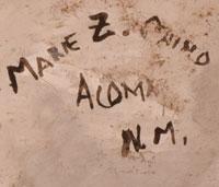 Artist Signature - Marie Z. Chino, Acoma Pueblo Potter