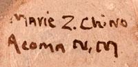 Artist signature - Marie Zieu Chino, Acoma Pueblo Potter
