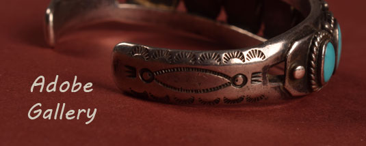 Alternate view showing the side stamp work on this bracelet.