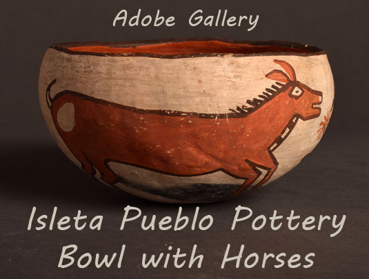 Alternate side view of this bowl showing the one other horse image.