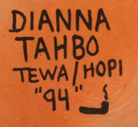 Dianna Tahbo (1941-2011) artist signature and hallmark of tobacco clan