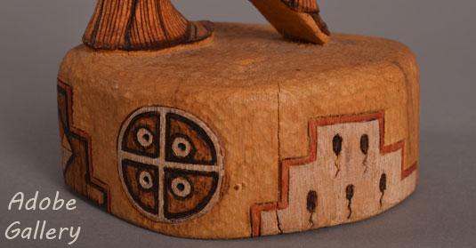 Close up view of the pedestal of this katsina.