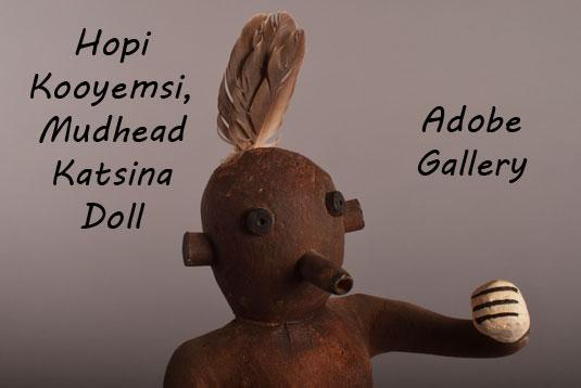 Close up view of the face of this mudhead Katsina doll.