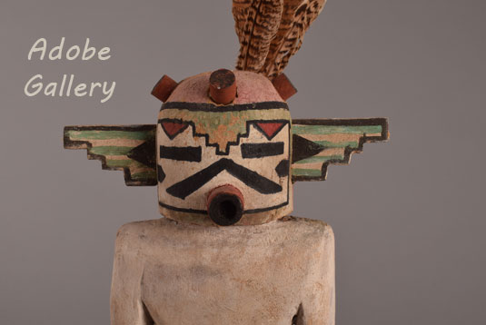 Close up view of this Kachina doll face.