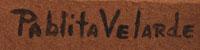 Artist Signature by Santa Clara Pueblo artist Pablita Velarde, Tse Tsan - Golden Dawn