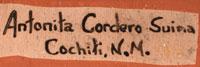 Artist Signature - Antonita Cordero Suina, Cochiti Pueblo Potter