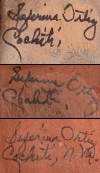Artist Signatures - Seferina Ortiz, Cochiti Pueblo Potter