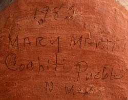 Artist Signature and DATE - Mary Martin, Cochiti Pueblo Potter