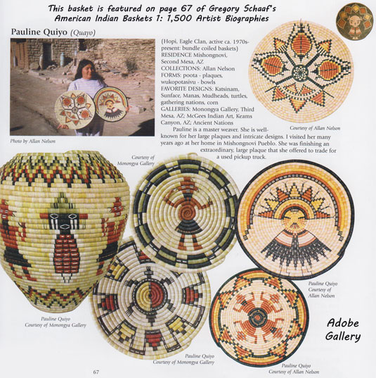 This basket and artist image is featured on page 67 (see below) of Gregory Schaaf's American Indian Baskets 1: 1,500 Artist Biographies.  Photo by Allan Nelson.