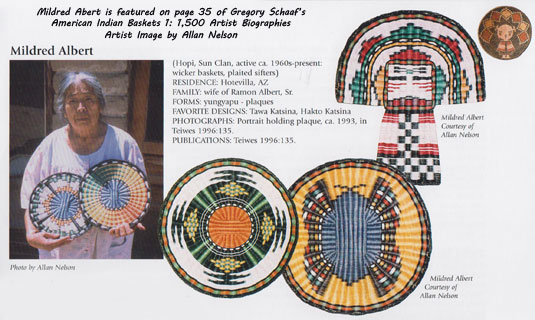 Mildred Abert is featured on page 35 of Gregory Schaaf's American Indian Baskets 1: 1,500 Artist Biographies.  Artist Image by Allan Nelson.