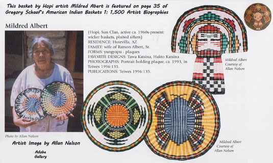 This basket by Hopi artist Mildred Abert is featured on page 35 of Gregory Schaaf's American Indian Baskets 1: 1,500 Artist Biographies.