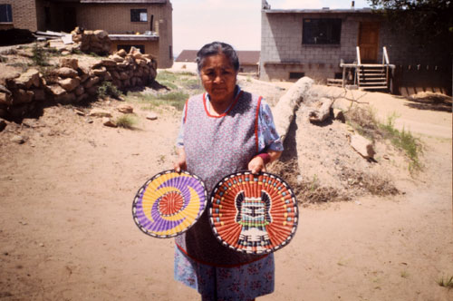The Hopi Pueblo artist Clara Sekayesva is pictured on page 72 of Gregory Schaaf's American Indian Baskets I, 1,500 Artist Biographies.  Original Photo by Allan Nelson.