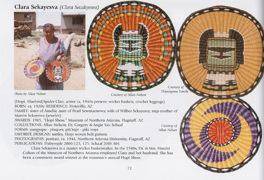 This basket is pictured in the hands of the artist on page 72 of Gregory Schaaf's American Indian Baskets I, 1,500 Artist Biographies.  Photo courtesy of Allan Nelson.