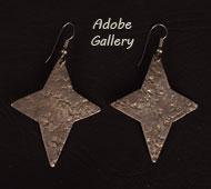 Item # C4425E Hand Hammered Sterling Silver Four-Pointed Star Earrings by Jan Loco