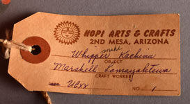 """There is a paper tag from Hopi Arts & Crafts, 2nd Mesa, that identifies this as a Whipper Kachina.  Someone, at a later time, wrote """"snake"""" on the tag."""