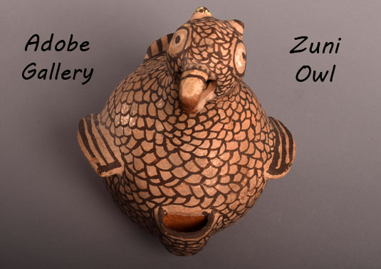 Alternate view looking down on this old Zuni pottery owl figurine.